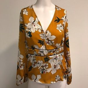 🌶 (3 for $25) Floral Mustard Blouse